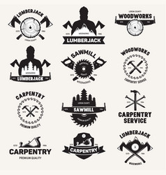 Collection isolated vintage lumberjack labels vector