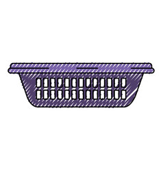 colored crayon silhouette of small laundry basket vector image