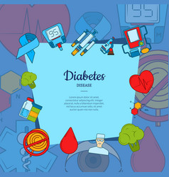 Colored diabetes icons background with vector