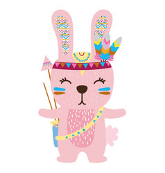 Colorful cute rabbit animal with feathers and vector