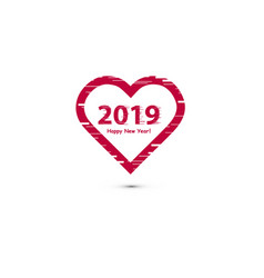 creative happy new year 2019 design with line art vector image