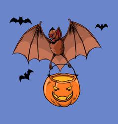 flying bat bring pumpkin lantern vector image