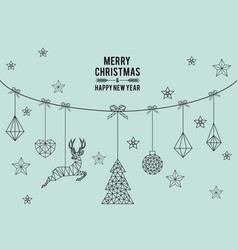 Geometric christmas card vector