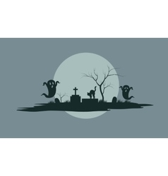 Ghost in tomb scary Halloween vector