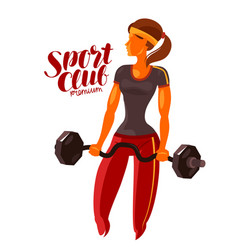 girl or young woman holding a heavy barbell in vector image