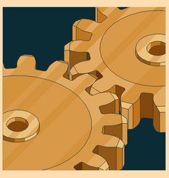 Golden gears colorful vector
