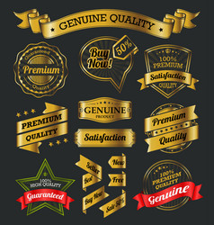 Golden labels and ribbons vector