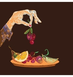 Hand With Fruits vector