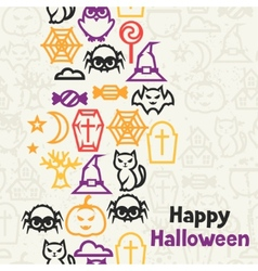 Happy halloween greeting card with flat icons vector image