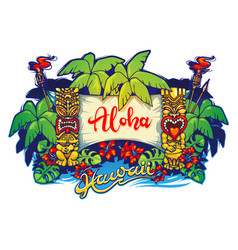 Hawaii tiki statues palm trees and a banner vector
