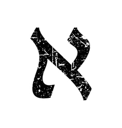 Hebrew letter Aleph Shabby black font The Hebrew vector image