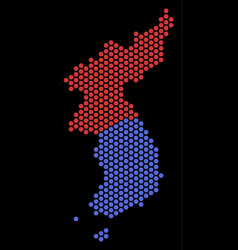 Hex tile north and south korea map vector