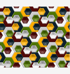 hexagons and triangles seamless pattern vector image
