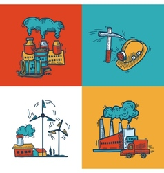 Industrial sketch banner design vector image