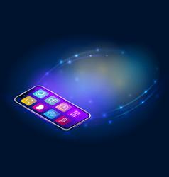 isometric smartphone with media icons on abstract vector image