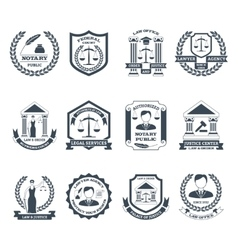 Lawyer black white logo set vector
