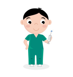 Little boy in doctor uniform with syringe vector