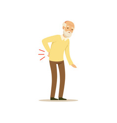 Male character old bad back colourful toon vector