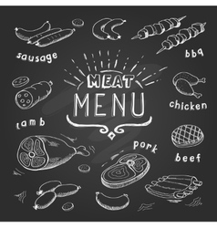 Meat menu on chalkboard Set of meat symbols beef vector