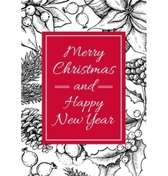 Merry Christmas and Happy New Year hand vector image