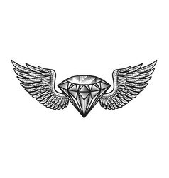 Monochrome winged diamond template vector