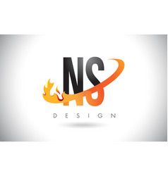 ns n s letter logo with fire flames design and vector image