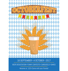 Octoberfest creative poster with information beer vector