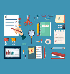 office supplies with business calculations set vector image