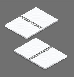 Open notebook template with a square grid vector