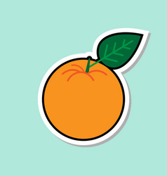 orange sticker on blue background colorful fruit vector image