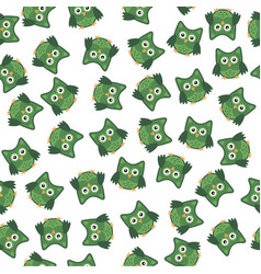 owl stylized art seamless pattern green white vector image