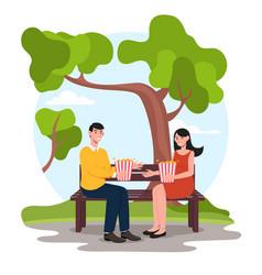 People eat popcorn vector