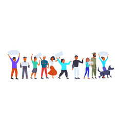 people group holding placards empty boards men vector image