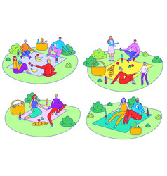 people on picnic outdoor set simple isolated vector image