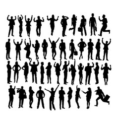 people standing and activity silhouettes vector image