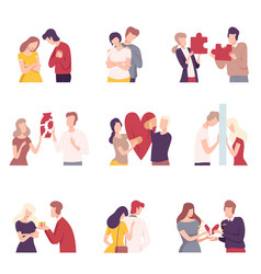 people trying to save love and friendship set vector image