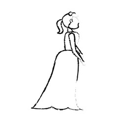 portrait woman bride image sketch vector image