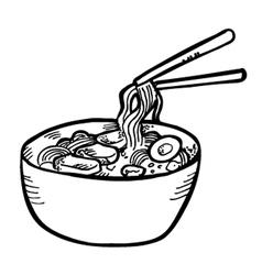 ramen doodle vector image