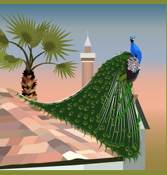 Realistic peacock on a tiled roof on the backgroun vector