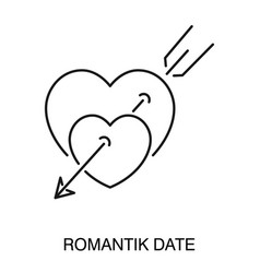 romantic date symbol heart pierced with arrow vector image