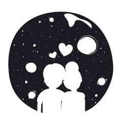 Romantic hipster typography poster with couple vector