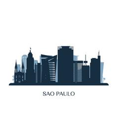 sao paulo skyline monochrome silhouette vector image