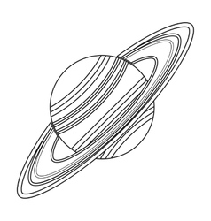 Saturn icon in outline style isolated on white vector image