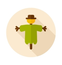 Scarecrow flat icon with long shadow vector image