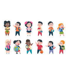 school kids cartoon children with books and vector image