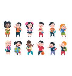 school kids cartoon children with books vector image