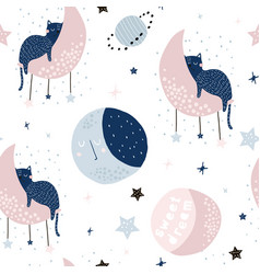 Seamless childish pattern with cats on moons and vector
