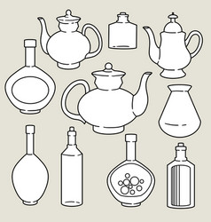 set abstract silhouettes kitchen dishes vector image