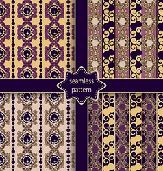 set of seamless ornamental colorful patterns vector image