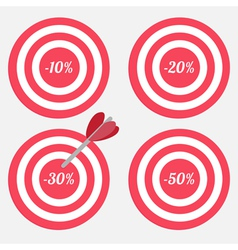 Set of targets with sale percent sign vector